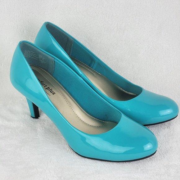 Comfort Plus Teal Patent High Heel Pumps Size 7